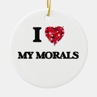 I Love My Morals Double-Sided Ceramic Round Christmas Ornament
