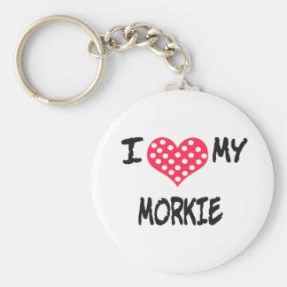I love my Morkie Basic Round Button Keychain