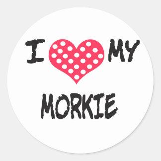 I love my Morkie Classic Round Sticker