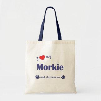 I Love My Morkie (Female Dog) Budget Tote Bag