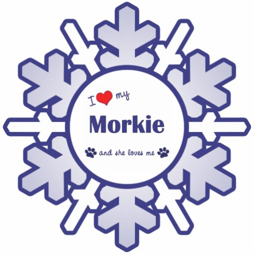 I Love My Morkie (Female Dog) Photo Sculpture Ornament