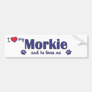 I Love My Morkie (Male Dog) Car Bumper Sticker