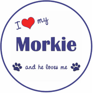 I Love My Morkie (Male Dog) Photo Sculpture Ornament