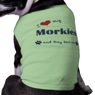 I Love My Morkie (Multiple Dogs) Pet T-shirt