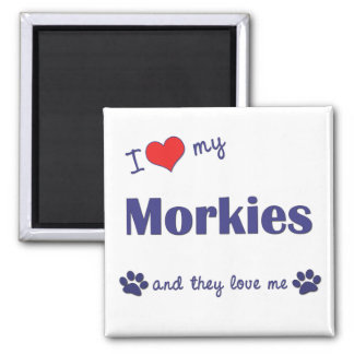I Love My Morkies (Multiple Dogs) 2 Inch Square Magnet