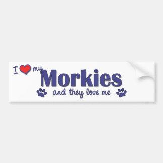 I Love My Morkies (Multiple Dogs) Bumper Sticker