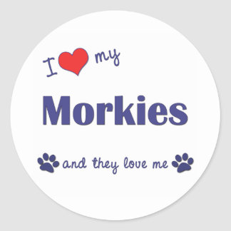 I Love My Morkies (Multiple Dogs) Classic Round Sticker