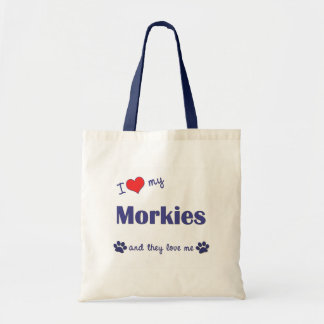 I Love My Morkies (Multiple Dogs) Tote Bag