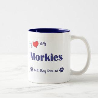 I Love My Morkies (Multiple Dogs) Two-Tone Coffee Mug