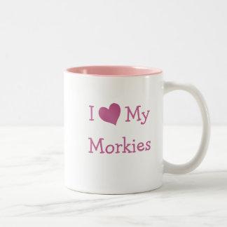 I Love My Morkies Two-Tone Coffee Mug