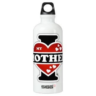 I Love My Mother Heartbeats Aluminum Water Bottle
