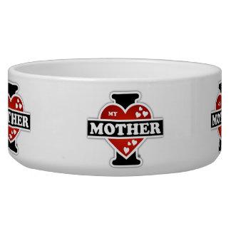 I Love My Mother Heartbeats Pet Bowl