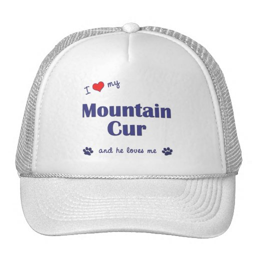 I Love My Mountain Cur (Male Dog) Trucker Hat