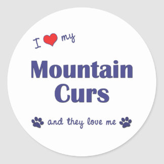 I Love My Mountain Curs Multiple Dogs Clic Round Sticker