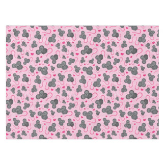 I love my mouse pattern in pink tablecloth