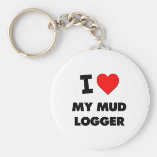 I love My Mud Logger Basic Round Button Keychain