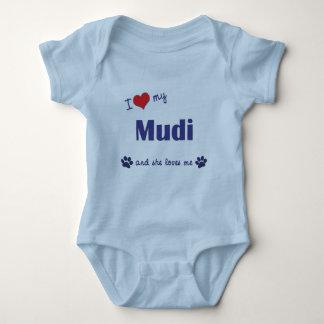 I Love My Mudi (Female Dog) Baby Bodysuit