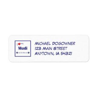 I Love My Mudi (Female Dog) Return Address Label