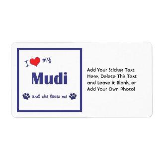 I Love My Mudi (Female Dog) Shipping Label