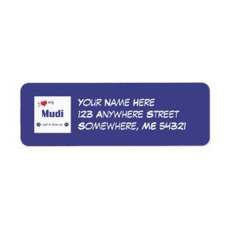 I Love My Mudi (Male Dog) Return Address Label