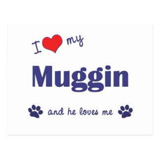I Love My Muggin (Male Dog) Postcard