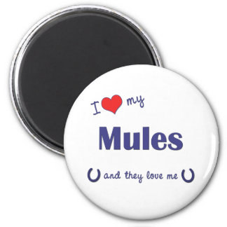 I Love My Mules (Multiple Mules) Fridge Magnets