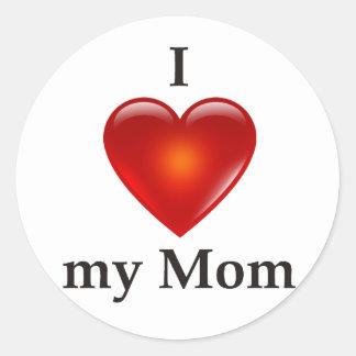 I love my mum classic round sticker