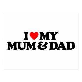 I LOVE MY MUM & DAD POSTCARD