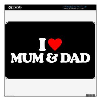 "I LOVE MY MUM & DAD 11"" MacBook AIR DECALS"