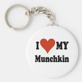 I Love My Munchkin Cat Gifts and Apparel Basic Round Button Keychain