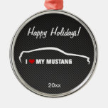 I Love my Mustang Christmas Ornaments