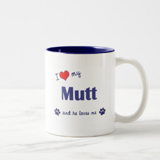 I Love My Mutt (Male Dog) Two-Tone Coffee Mug