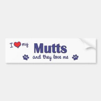 I Love My Mutts (Multiple Dogs) Bumper Sticker