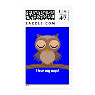 I love my naps owl postage stamp