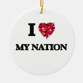 I Love My Nation Double-Sided Ceramic Round Christmas Ornament