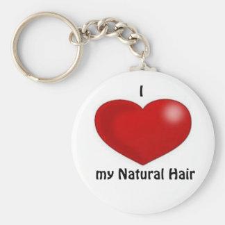 I love my natural hair basic round button keychain
