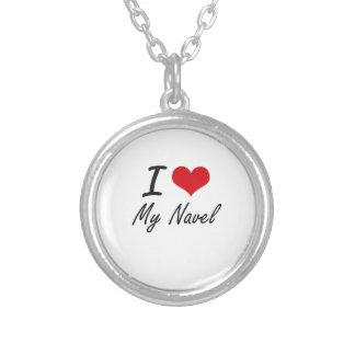I Love My Navel Silver Plated Necklace