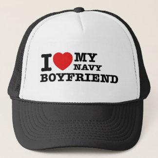 I love my navy boyfriend trucker hat