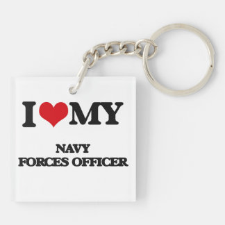 I love my Navy Forces Officer Square Acrylic Key Chain