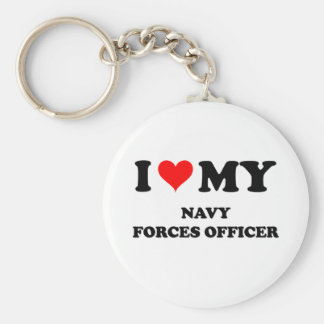I Love My Navy Forces Officer Key Chain