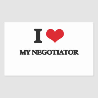 I Love My Negotiator Rectangular Sticker