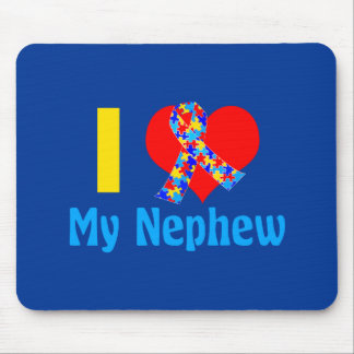 I Love My Nephew Autism Awareness Blue Mouse Pad