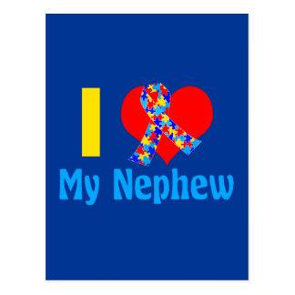 I Love My Nephew Autism Awareness Blue Postcard