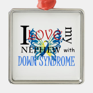 I Love My Nephew with Down Syndrome Metal Ornament