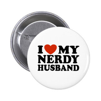 I Love My Nerdy Husband Button