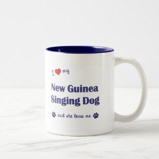 I Love My New Guinea Singing Dog (Female Dog) Two-Tone Coffee Mug