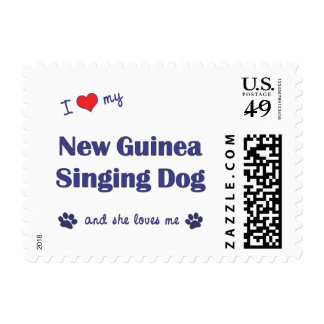 I Love My New Guinea Singing Dog (Female Dog) Stamps