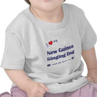 I Love My New Guinea Singing Dog (Female Dog) T-shirts