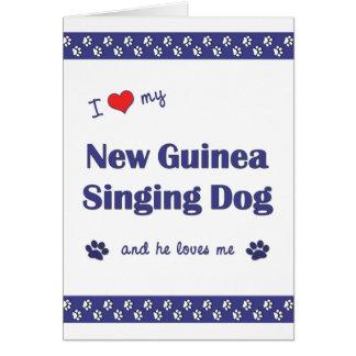 I Love My New Guinea Singing Dog (Male Dog) Card