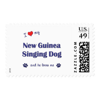 I Love My New Guinea Singing Dog (Male Dog) Stamps